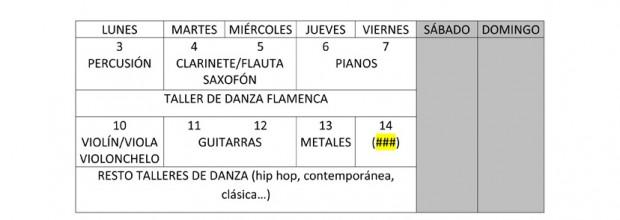 Calendario de Matriculación del mes de Julio.