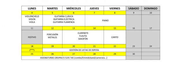 Matrícula de Septiembre para Talleres de Música y Agrupaciones.