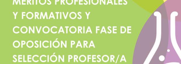RESULTADO BAREMACIÓN MÉRITOS PROFESIONALES Y FORMATIVOS Y CONVOCATORIA FASE DE OPOSICIÓN PARA SELECCIÓN PROFESOR/A FLAUTA TRAVESERA