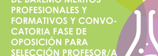 ANUNCIO CORRECCIÓN DE BAREMO MERITOS PROFESIONALES Y FORMATIVOS Y CONVOCATORIA FASE DE OPOSICIÓN PARA SELECCIÓN PROFESOR/A DE FLAUTA TRAVESERA