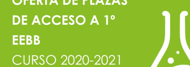 OFERTA DE PLAZAS DE ACCESO A 1º EEBB Curso 2020-21