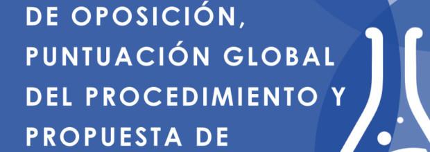 RESULTADO DE LA FASE DE OPOSICIÓN, PUNTUACIÓN GLOBAL DEL PROCEDIMIENTO Y PROPUESTA DE CONTRATACIÓN