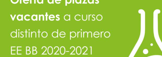 Oferta de plazas vacantes a curso distinto de primero EE BB 2020-2021