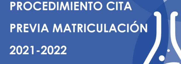 Procedimiento cita previa matriculación 2021-2022