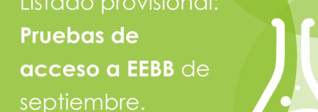 LISTADO PROVISIONAL: Pruebas de acceso a EEBB de septiembre